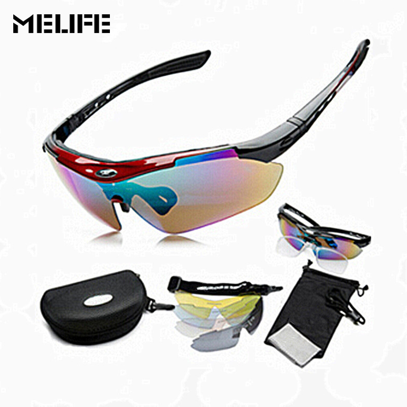 MELIFE Professional Cycling Glasses Polarized Outdoor Sports Fishing Bicycle Sunglasses Ski Eyewear UV 400 With 5 Lens 5 Color