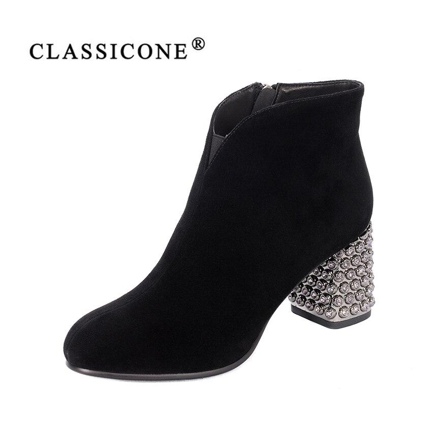 Mujeres zapatos primavera otoño mujer botas tobillo medio tacón bombas del cuero genuino marca de moda cristal decoración CLASSICONE
