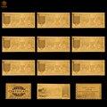 10 pçs/lote nice produtos omã ouro notas 10 rial dinheiro em 24k ouro réplica notas coleções