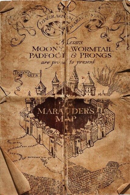Harry Porter Map Art Silk Fabric Poster 36 x 24