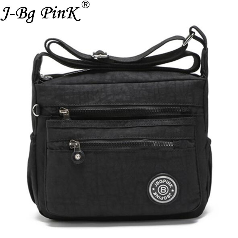 J-BG PinK Women Nylon Bags For Women Shoulder Bag sac a main Multilayer Bags Nylon Messenger Bag Bolsos mujer marca famosa 2017 dark colour metal nylon messenger bag