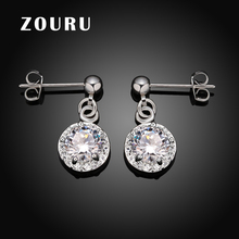 ZOURU Brand High Quality Silver Plated CZ Big Zircon Stone Drop Vintage Earrings For Women Fashion Wedding Jewelry Free Shipping