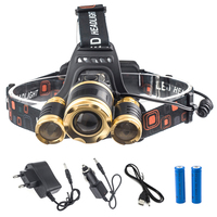 8000LM 3x XML T6 Headlamp Zoomable Rechargeable LED Headlight Head Lamp Flashlight Torch Linterna 2x18650 Battery
