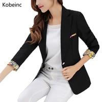 Fashion Patchwork Floral Pattern Blazer Slim Waist Formal Jackets Single Button Women Casaco Three Quarter Sleeve