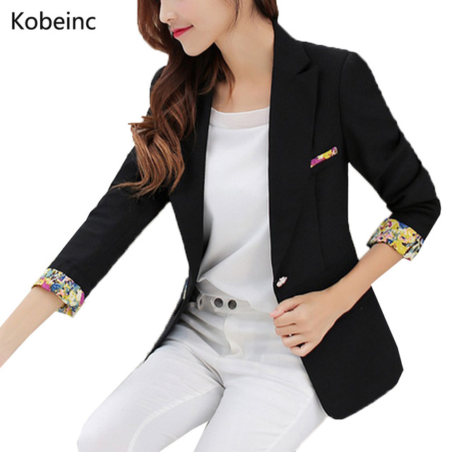 Fashion Patchwork Floral Pattern Blazer Slim Waist Formal Jackets Single Button Women Casaco Three Quarter Sleeve Blazers S-4XL