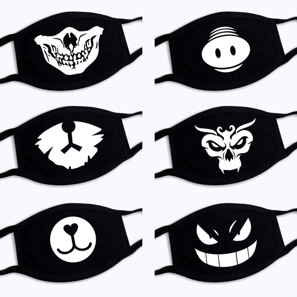 Gifts Halloween Cartoon Funny Patterned Mask Unisex Fashion Cotton Mouth Face Mask Black Anime Masques Health Care  Respiratory