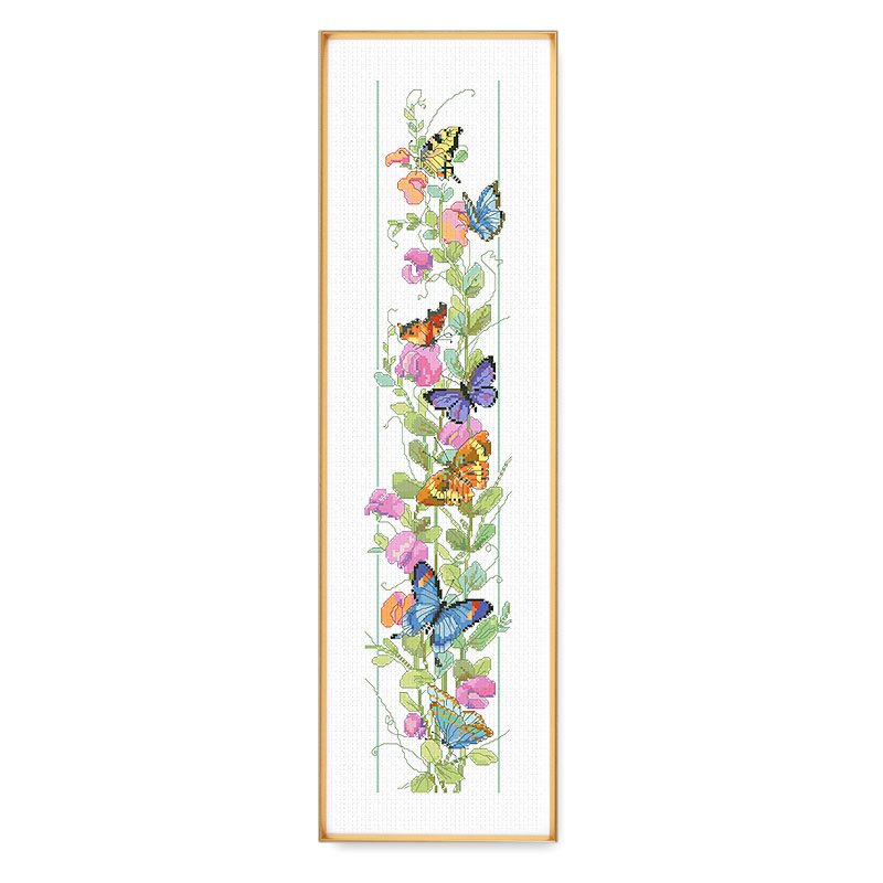 Fishxx Cross Sets For Embroidery Stitch B629 Vertical Butterfly Patterns Flower Porch Counted Cross-stitch Kits On Needlework