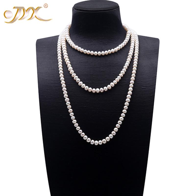 купить JYX Choker Long Pearl Necklace Classic 7-8 mm Near-round White Cultured Freshwater Pearl Necklace Chain 16-64 по цене 2236.11 рублей