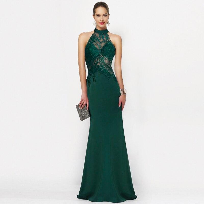 2019 Elegante Larga Noche Vestidos Bonito 7189 Mujeres Poco Sirena De Encaje Vestidos De Fiesta Vestido Verde Esmeralda
