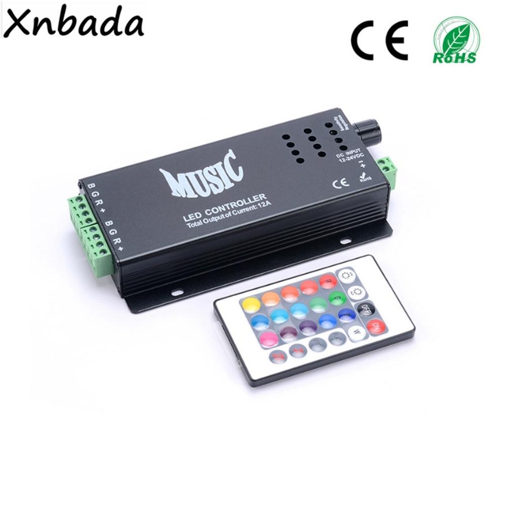 RGB Led Strip Music IR Led Controller 24Keys Wireless IR Remote Music Sound Control DC12-24V