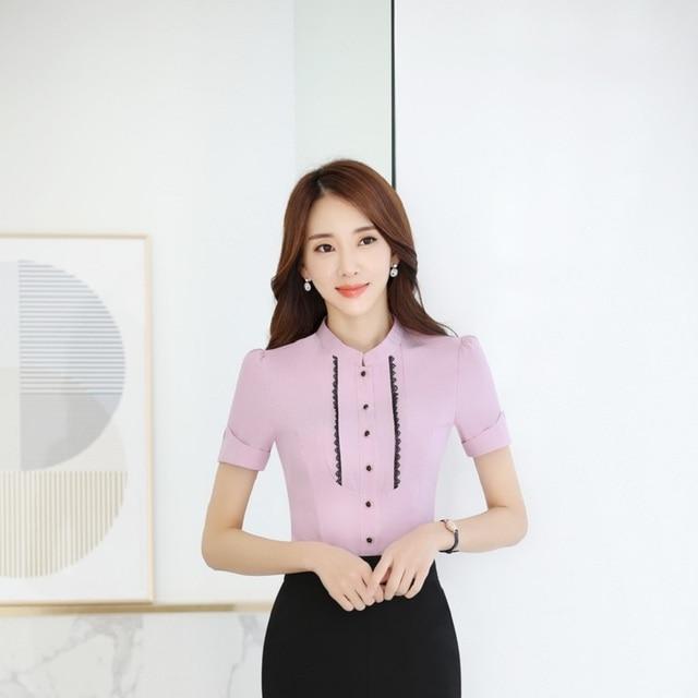 fdc8f3fd9fd Summer Short Sleeve Blouses Formal Uniform Styles Ladies Tops Shirts Office Work  Wear Beauty Salon Blouse Shirt Blusa Purple