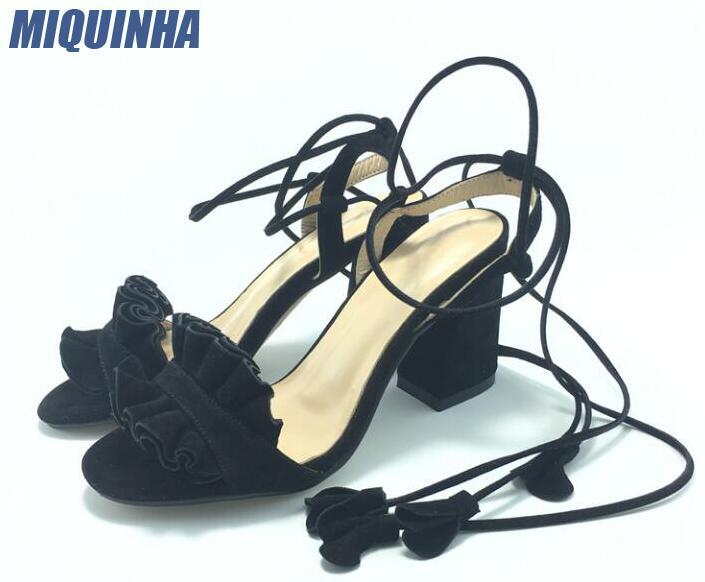 купить MIQUINHA 2017 Fashion Ruffles Suede Leather Women Open Toe Sandals 9cm Chunky Heel Ladies Lace Up Sandals Concise Style Sandals по цене 4970.55 рублей