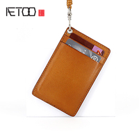 AETOO Tanning cowhide Document card sleeve hand hanging neck rope Retro leather Document Set chest card work cards
