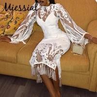 Miessial Embroidery vintage white midi dress Women tassel bodycon dress Retro guipure transparent elegant lace summer dress 2019