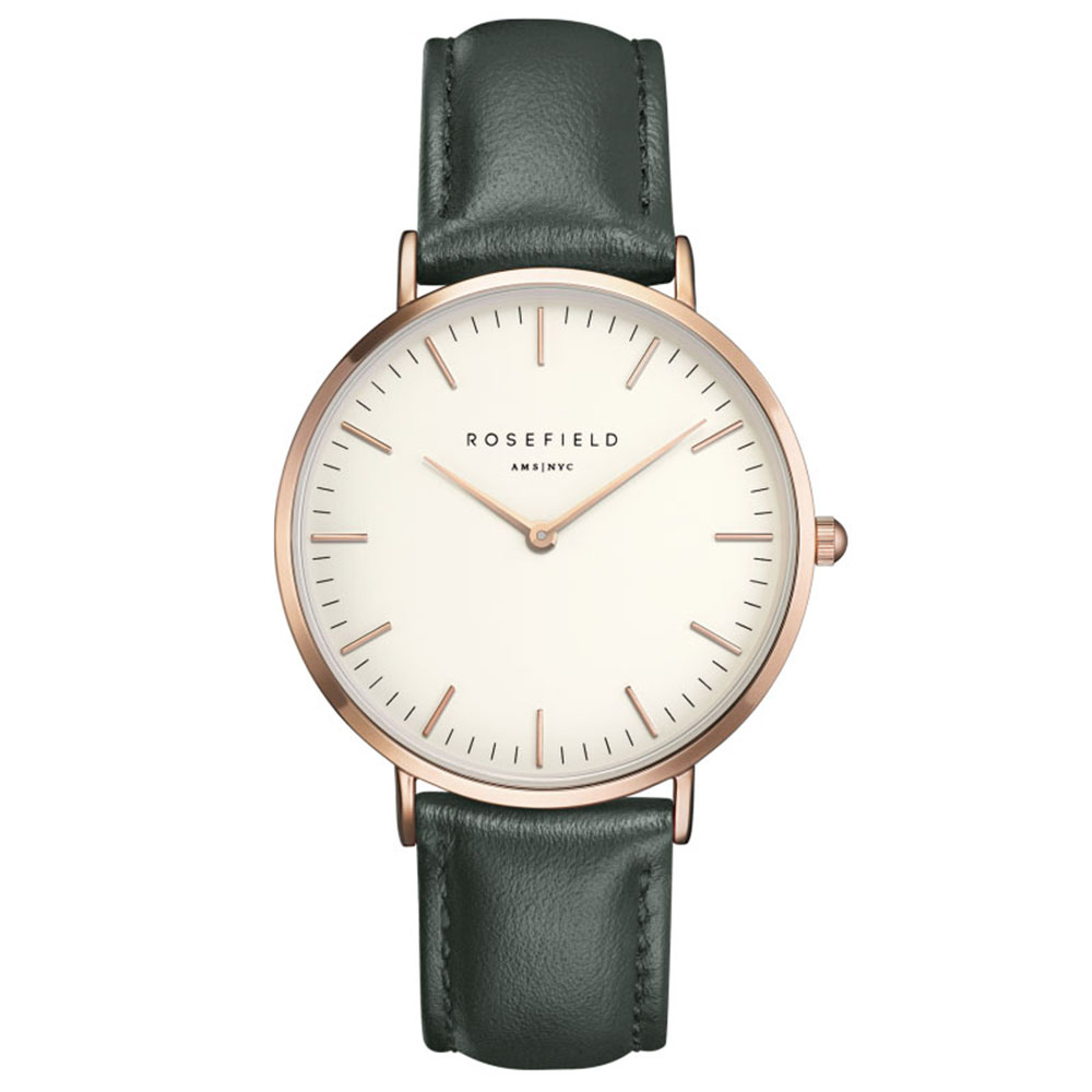 Ladies Ultra-Thin Watch - rose gold green leather strap