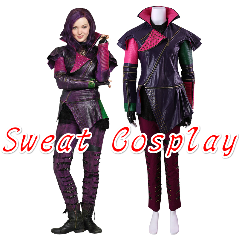High Quality Descendants Maleficent Daughter Mal Costume Adult Women  Jackets +Pants+Gloves Halloween Cosplay Costume-in Movie & TV costumes from