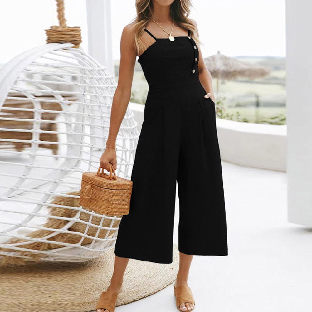 Summer women jumpsuits 2018 holiday sleeveless off shoulder high waisted wide leg pants summer beach long jumpsuit