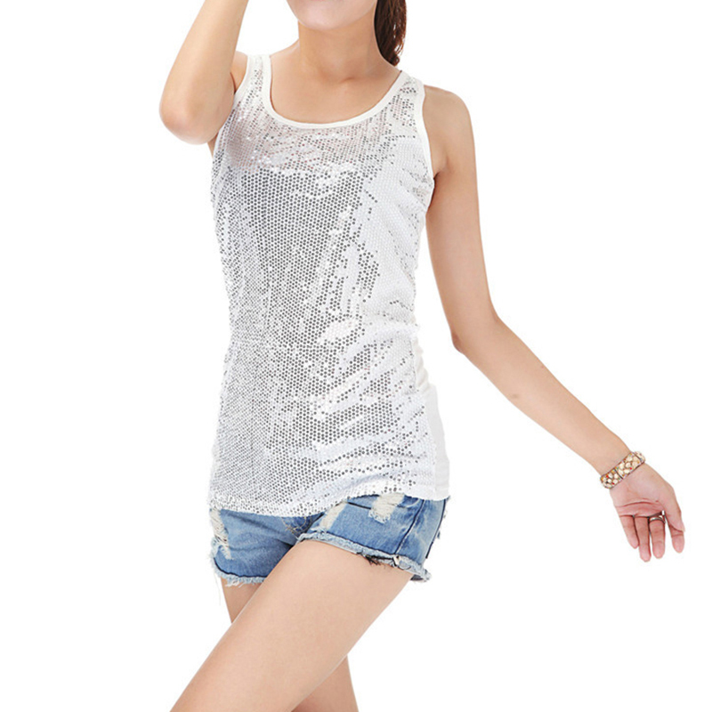 Fashion women loose glitter sequin tank top summer modal veste femme sexy casual tops in tank - Top sexy femme ...