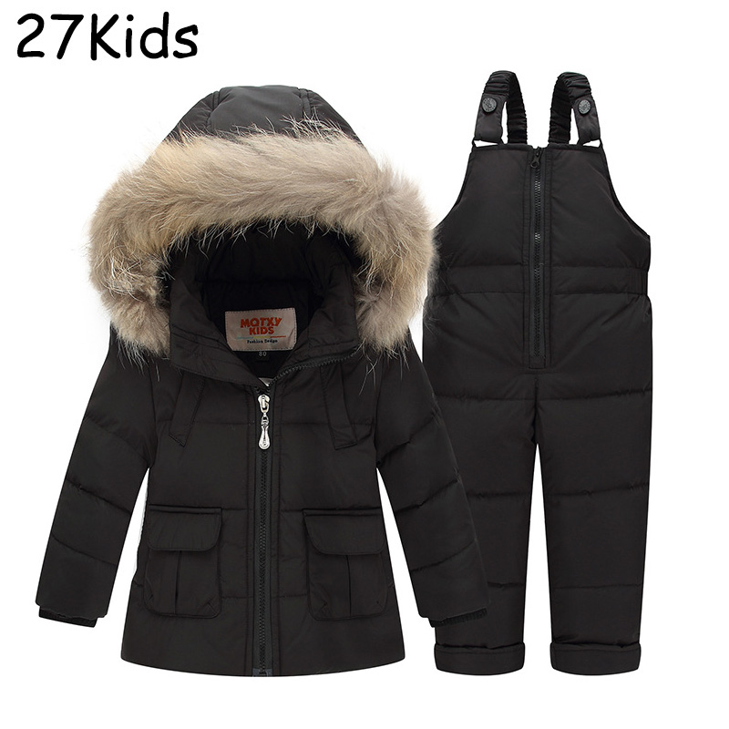 Baby Boys Girls Clothing Sets Winter Hooded Down Jackets And Trousers Waterproof Thick Warm Tracksuits Kids Clothing Sets 1-3T 2016 winter boys ski suit set children s snowsuit for baby girl snow overalls ntural fur down jackets trousers clothing sets