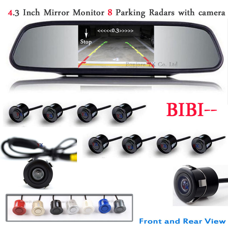 Koorinwoo Car Parking Sensor 8 Redars BIBI Alarm Sound Monitor Mirror LCD Screen Front Camera Car Rear view Camera Parktronic koorinwoo 4 in 1 car parking sensor 8