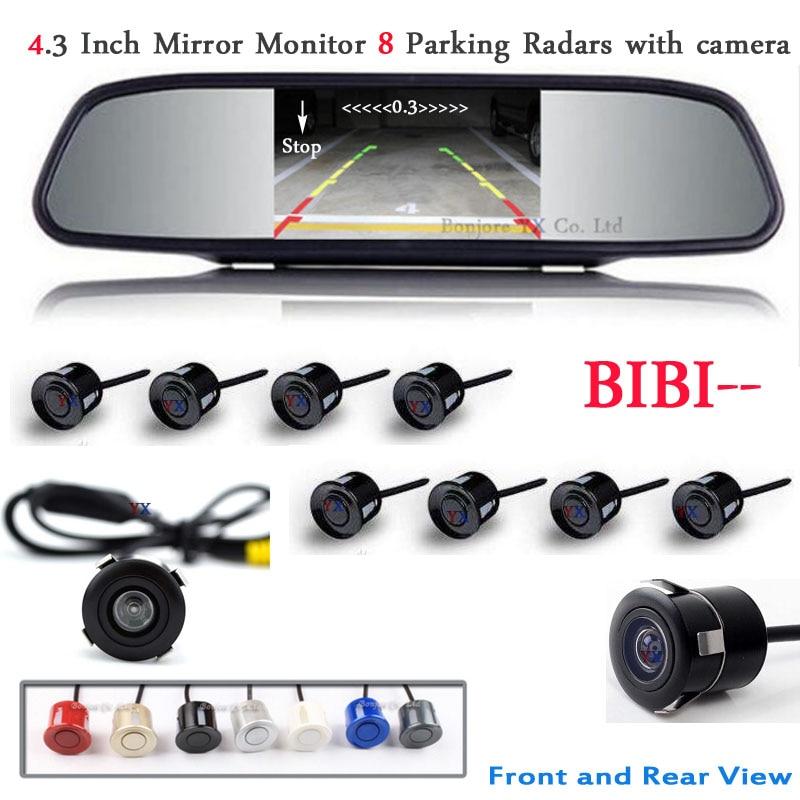 Koorinwoo Car Parking Sensor 8 Redars BIBI Alarm Sound Monitor Mirror LCD Screen Front Camera Car Rear view Camera Parktronic