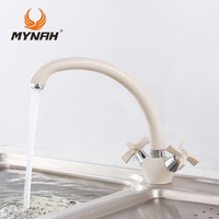 Russia Free Shipping Double Handle Kitchen Faucet Mixer Cold And Hot Kitchen Tap Single Hole Water