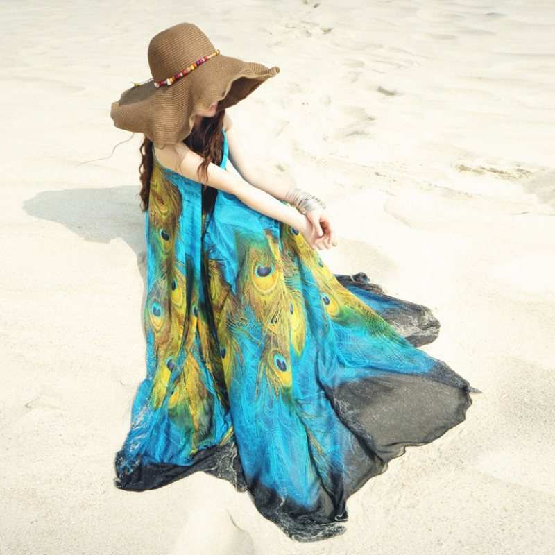 Summer Women Maxi Dress Boho Long Peacock Beach Chiffon Dress M L XL XXL Women Sun-proof Dress Embroidery Hollow Out Dress Y6