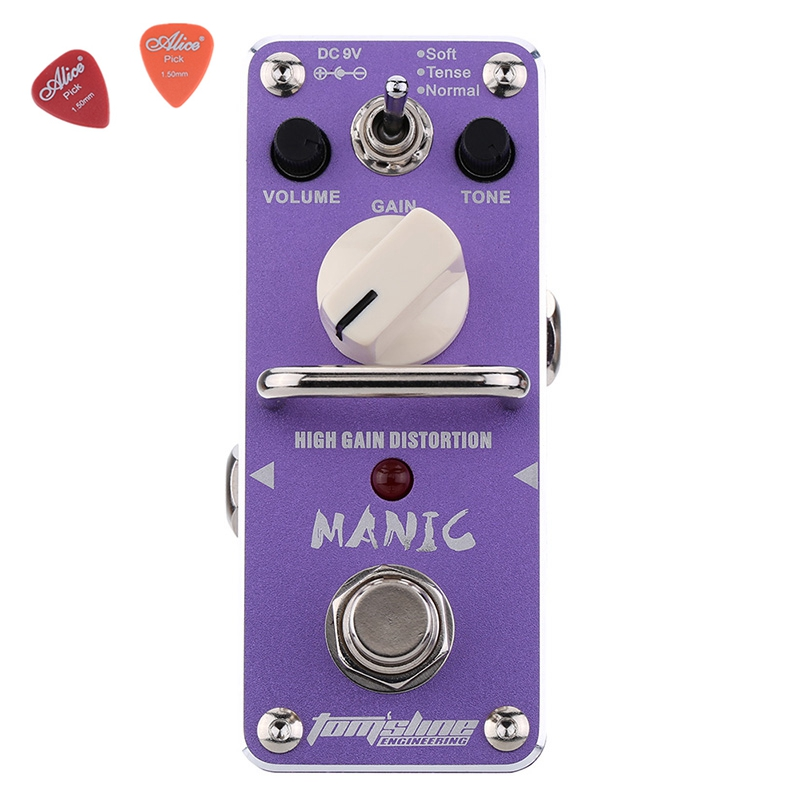 AMC-3 MANIC High Gain Distortion Guitar Effect Pedal Aroma Mini Analogue Pedals Purple Color True Bypass Guitar Parts proco sound you dirty rat distortion guitar effect pedals