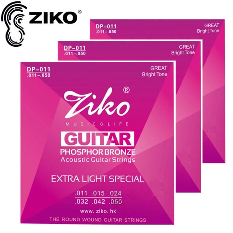 ZIKO 3sety / ks 011-050 Akustické kytarové struny hudební nástroje Příslušenství kytarových dílů