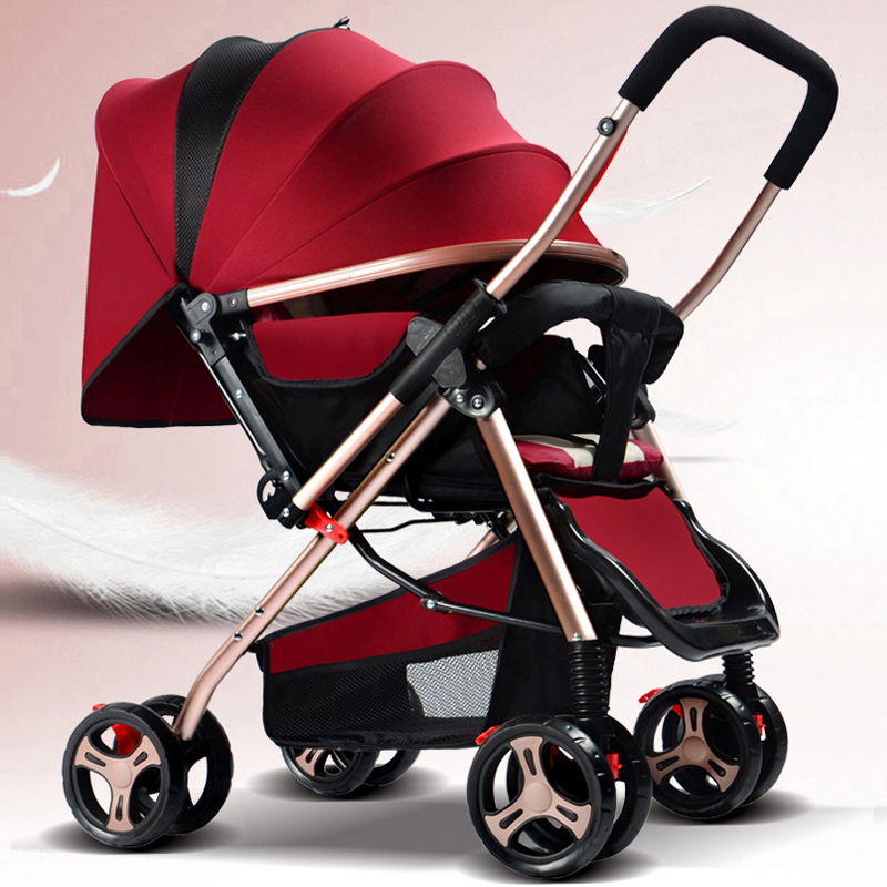 Baby Stroller, Stroller Can Lie, Sit, Light Folding Two-way Four Wheel Umbrella, Bb Car high landscape suspension stroller four wheel two way light folding sit lie baby cart
