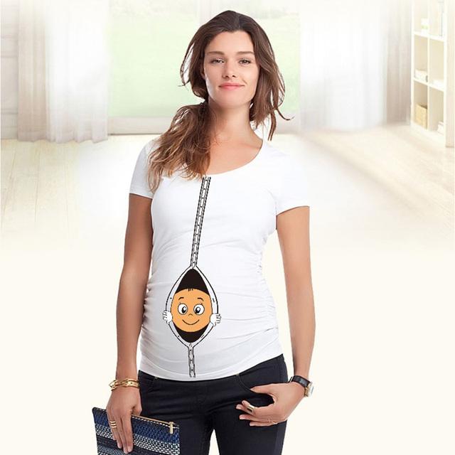 S-XXL camisetas embarazo con el bebé que mira a escondidas divertido de maternidad tops 10 color de las camisetas para las mujeres embarazadas mom to be peek a boo tees