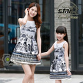 Cotton Floral Family Matching Mother Daughter Clothes Sleeveless O-Neck Girls Dress Flower Printing Mommy Girls Dresses