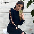 Simplee Sexy hollow out lace up short blouse Winter long sleeve shirt women tops 2016 Fashion female black blouse chemise femme