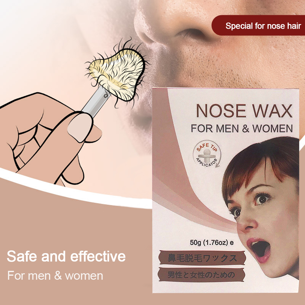 2 Minutes Nose Hair Removal Set 50g Wax 20pcs Nostril Stick 10pcs Paper Cup 1pcs Heat-resistant Cup Funny Stickers Manual TSLM2