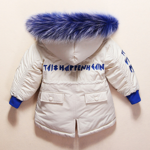 Image 3 - New Russian Winter Clothes for Baby Boys Girls 1 4years Children Down Suit Genuine Fur Collar Kids Down Jacket Girls Winter Coat