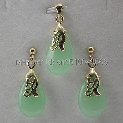 Hot sale FREE SHIP>>>>set of light green STONE Pendant Necklace Earring jewelry