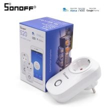 цена на Sonoff S20 EU/US/UK Wireless WiFi Timer Socket 10A 2200w Remote Power Supply Plug Remote Control Smart Home Support IOS Android