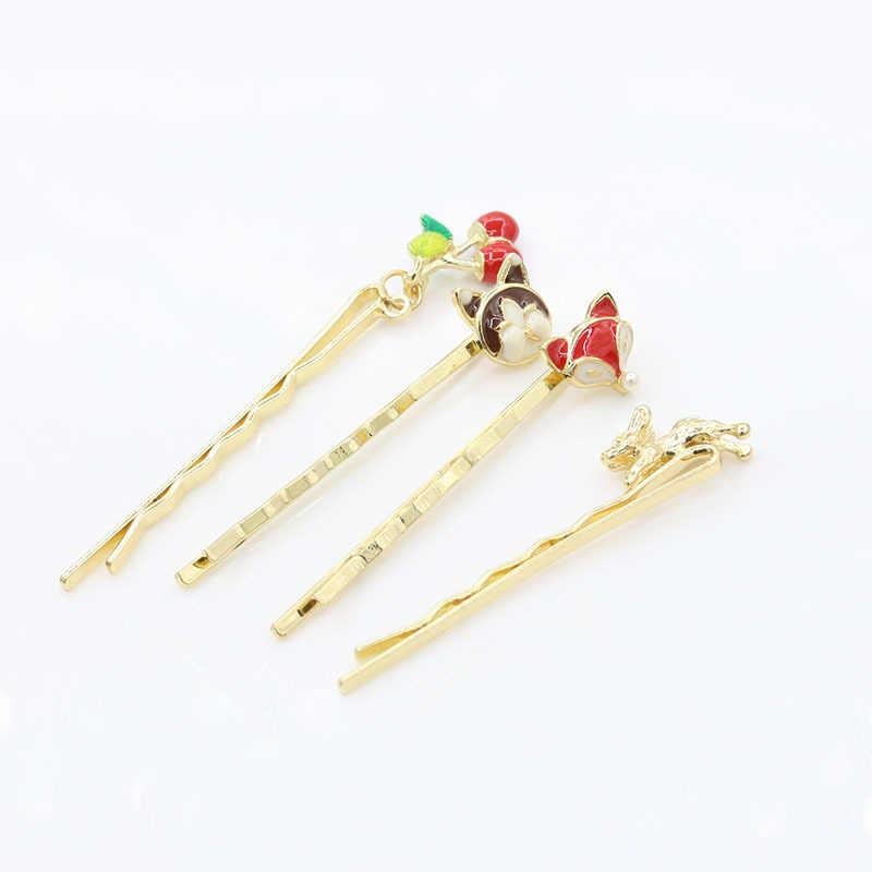 Nieuwe Veel Patronen Hangers Aardbei Medaille Ster Bloem Hoge hakken Schoenen etc Golden Haarspelden Clips Haar Sieraden Vrouwen
