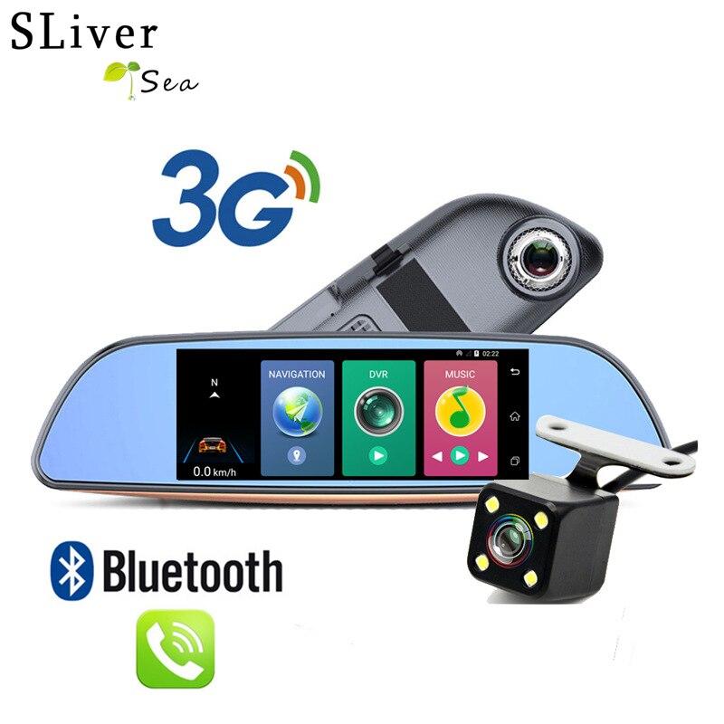 SLIVERYSEA 3G Android GPS Dual Lens Car DVR Rearview mirror with Rear Camera FHD 1080P Dash Cam WIFI camera #B1056 relaxgo 5android rearview mirror car camera gps navigation wifi car video recorder dual lens 1080p vehicle dvr parking dash cam