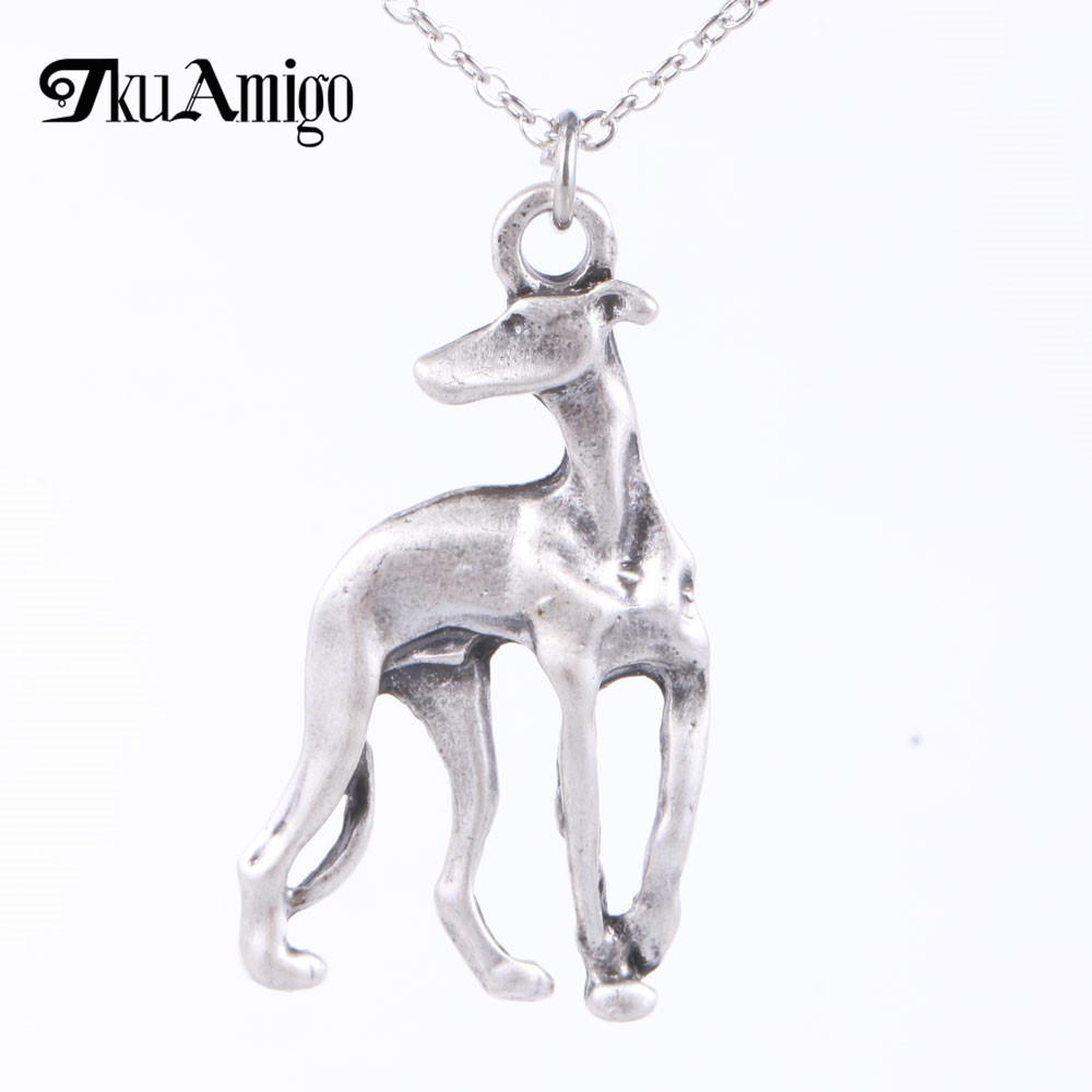 Greyhound ogrlica Galgo sprejeti reševalni whippet pes oblika zlato - Modni nakit - Fotografija 4