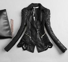 2018 Spring and autumn new lace motorcycle PU leather women short Slim leather jacket
