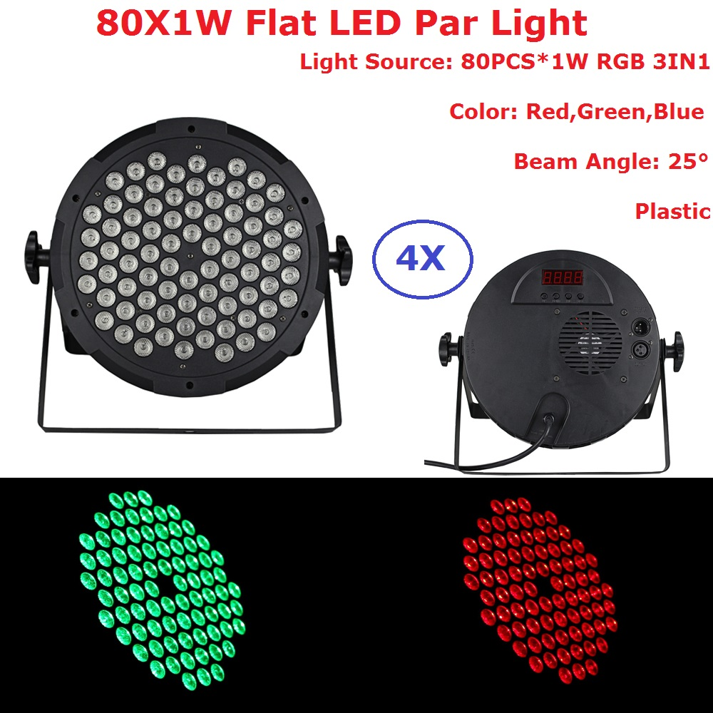 4Pcs/Lot Good Quality LED Par Quad 80X1W Wash DMX Par Light American DJ Par RGB 3IN1 DMX LED Flat Par Lights 25 Degree Beam jetem lugano blue