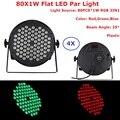 4 шт./лот Высокое качество LED Par Quad 80X1 Вт Wash DMX светильник Par Американский DJ Par RGB 3IN1 DMX LED плоский Par свет 25 градусов луч