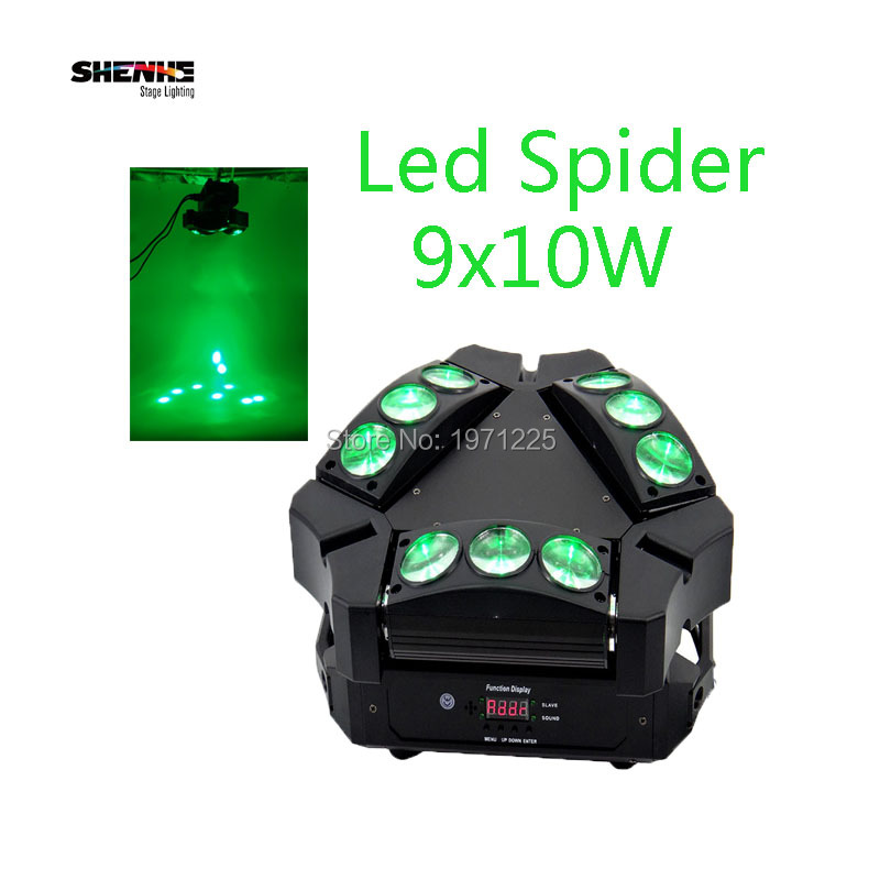 LED Stage Light Mini Led 9x10W Led Spider Light DMX512 16/48 CHs LED RGBW Family Party Light Moving Head Beam Light for Dj/Disco 9 moving head laser spider light green color 50mw 9 triangle spider moving head light laser dj light disco club event