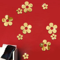 10 Pcs Set 3D Acrylic Mirror Surface Wall Sticker Cute Flowers Design For Room Wall Decoration