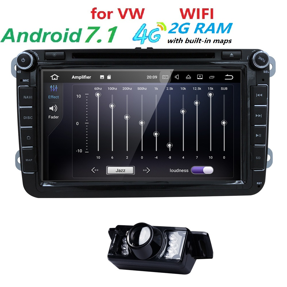 8 inch Quad core 2Din Android 7.1 gps car dvd for VW Polo passat b6 T5 Skoda Octavia 2 3 Superb fabia Tiguan Seat leonJetta Wifi free shipping android8 0 7inch 2din car gps dvd player for skoda octavia fabia rapid yeti superb vw seat navi multimedia radio