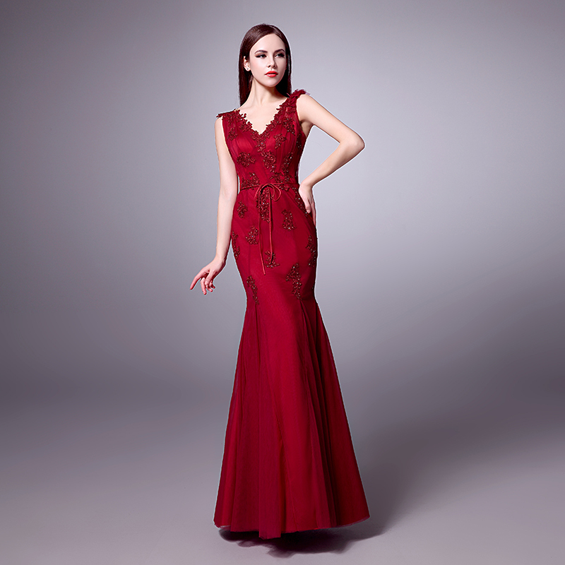Red fitted evening dresses