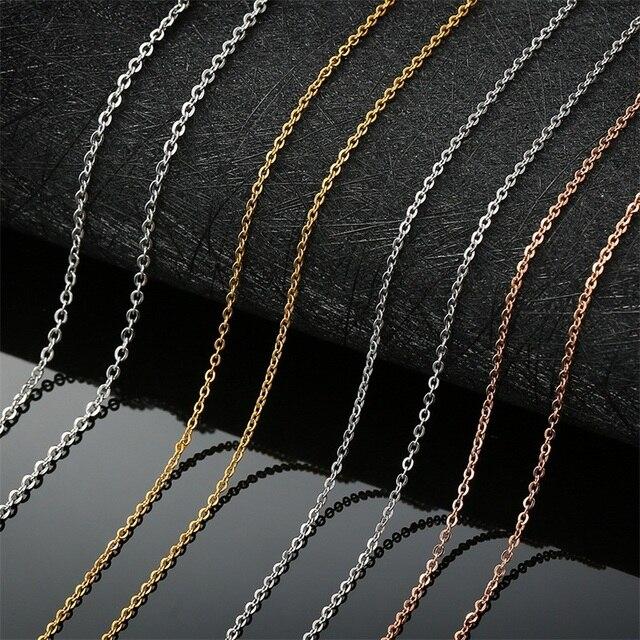AZIZ BEKKAOUI Trigo Link Chains Men Colar Básico Rodada Cuba de Aço Inoxidável Elo Da Cadeia Rodada Colar Unisex Homens Jóias