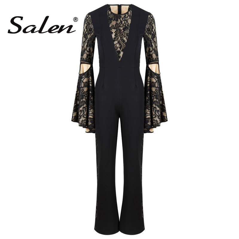 Salen Sexy Lace Hollow Out O Neck Bodycon Women Jumpsuits Full Length Fashion Solid Full Sleeve Flare Split Bodysuits 2017
