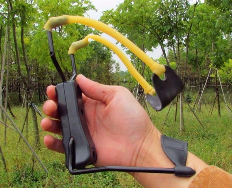 Alloy Slingshot Powerful Sling Shot Bow Catapult Outdoor Hunting Brace Wrist